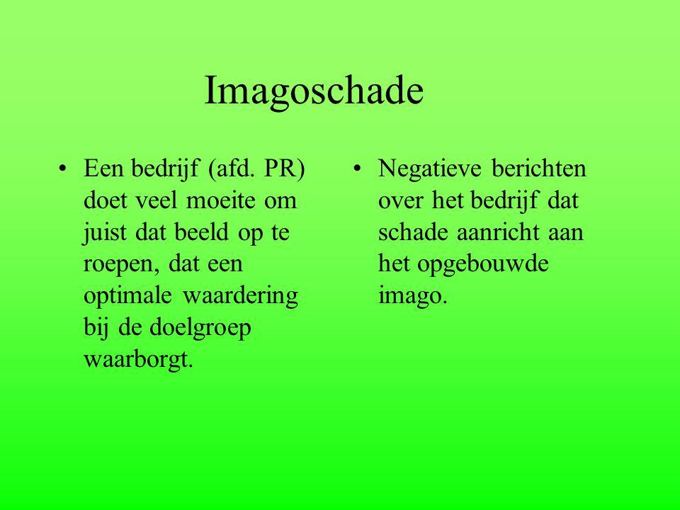 Imagoschade Een bedrijf (afd. PR) doet veel moeite om juist dat beeld op te roepen, dat een optimale waardering bij de doelgroep waarborgt. Negatieve