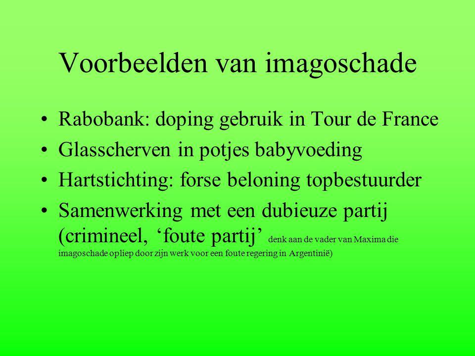 Voorbeelden van imagoschade Rabobank: doping gebruik in Tour de France Glasscherven in potjes babyvoeding Hartstichting: forse beloning topbestuurder
