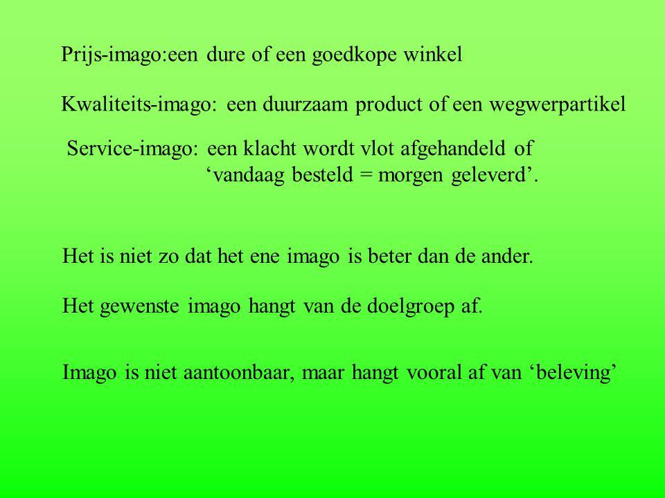 Prijs-imago:een dure of een goedkope winkel Kwaliteits-imago: een duurzaam product of een wegwerpartikel Service-imago: een klacht wordt vlot afgehand