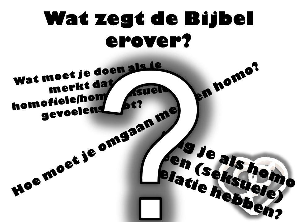 Wat zegt de Bijbel erover? Hoe moet je omgaan met een homo? Mag je als homo een (seksuele) relatie hebben? Wat moet je doen als je merkt dat je homofi