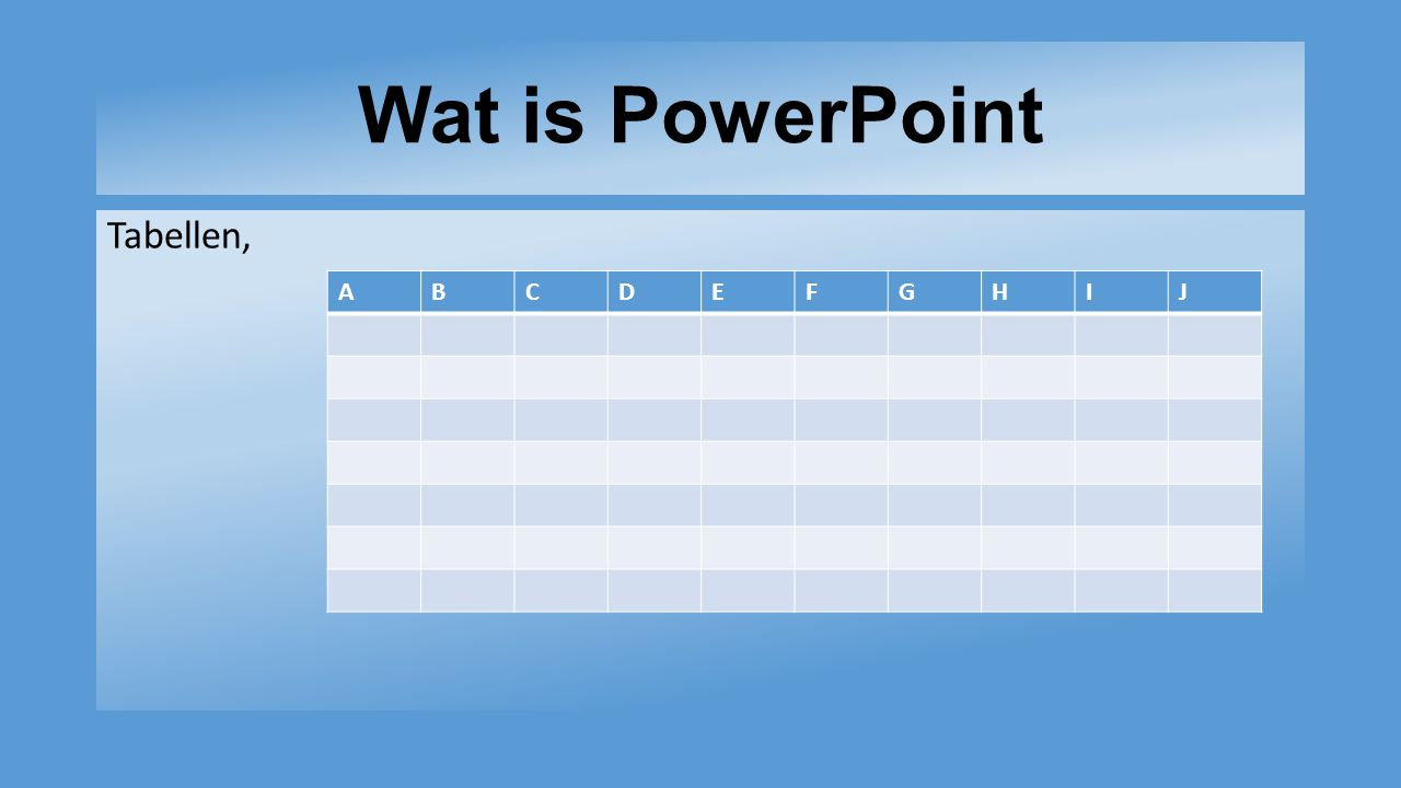 Wat is PowerPoint Tabellen, ABCDEFGHIJ