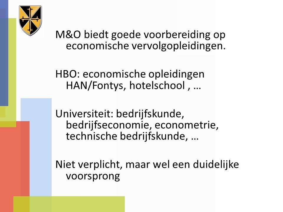 M&O biedt goede voorbereiding op economische vervolgopleidingen. HBO: economische opleidingen HAN/Fontys, hotelschool, … Universiteit: bedrijfskunde,
