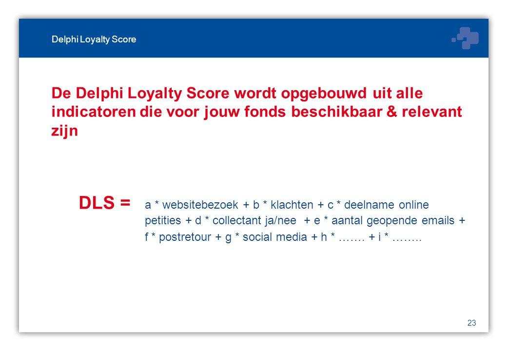 23 De Delphi Loyalty Score wordt opgebouwd uit alle indicatoren die voor jouw fonds beschikbaar & relevant zijn DLS = a * websitebezoek + b * klachten + c * deelname online petities + d * collectant ja/nee + e * aantal geopende emails + f * postretour + g * social media + h * …….