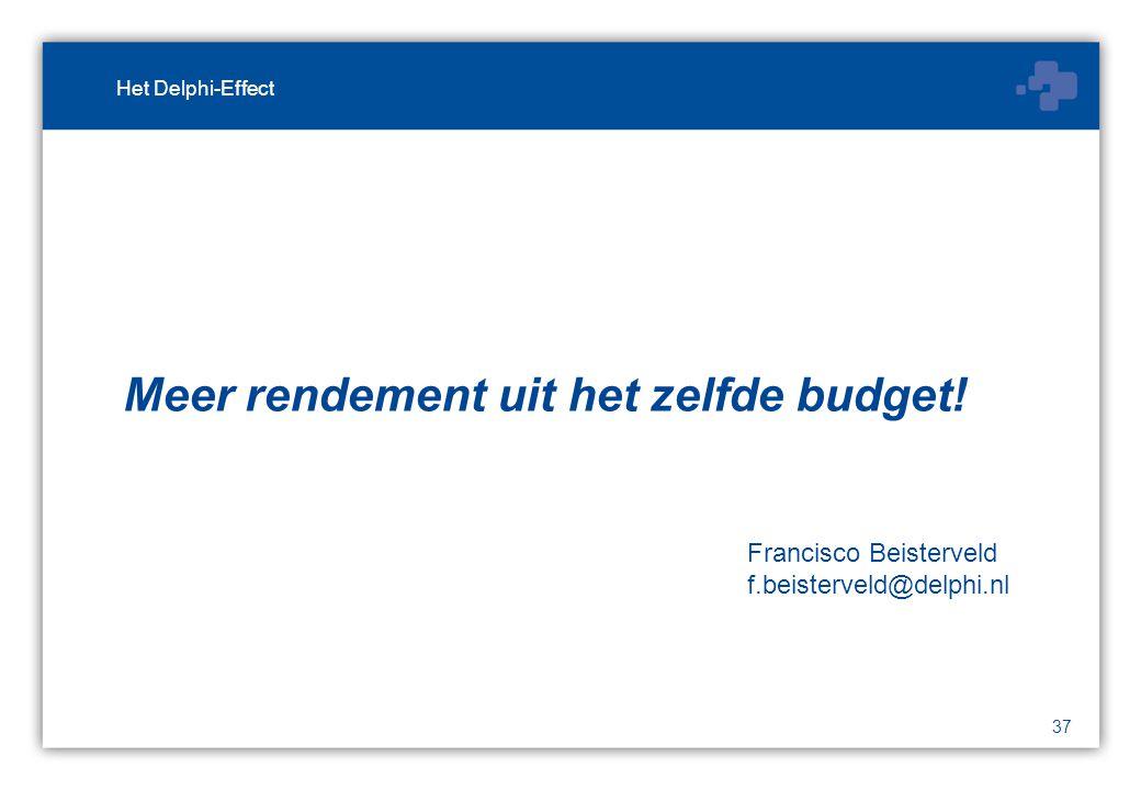 37 Meer rendement uit het zelfde budget.