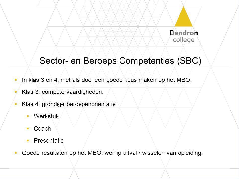 Sector- en Beroeps Competenties (SBC)  In klas 3 en 4, met als doel een goede keus maken op het MBO.  Klas 3: computervaardigheden.  Klas 4: grondi