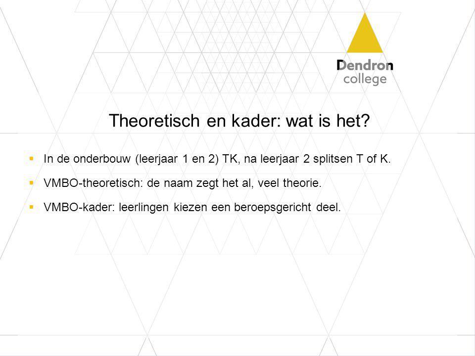 Theoretisch en kader: wat is het?  In de onderbouw (leerjaar 1 en 2) TK, na leerjaar 2 splitsen T of K.  VMBO-theoretisch: de naam zegt het al, veel