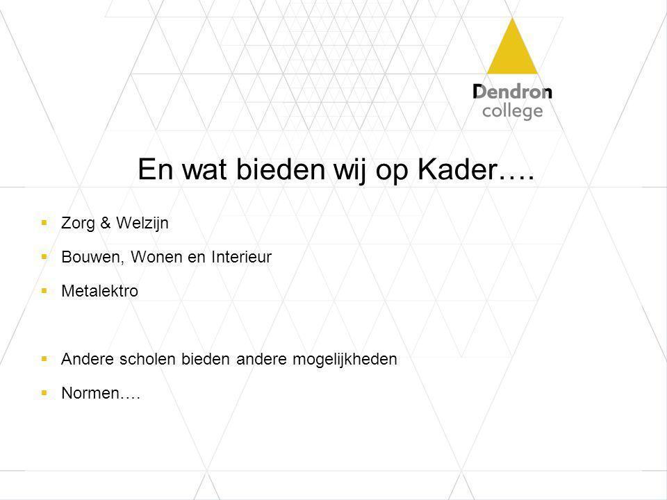 En wat bieden wij op Kader….  Zorg & Welzijn  Bouwen, Wonen en Interieur  Metalektro  Andere scholen bieden andere mogelijkheden  Normen….
