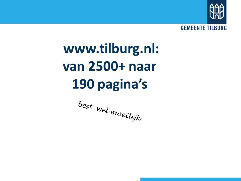 www.tilburg.nl: van 2500+ naar 190 pagina's best wel moeilijk