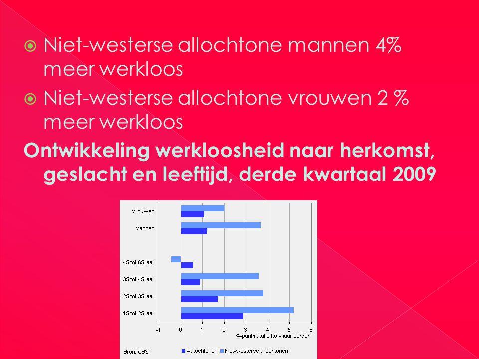  Niet-westerse allochtone mannen 4% meer werkloos  Niet-westerse allochtone vrouwen 2 % meer werkloos Ontwikkeling werkloosheid naar herkomst, geslacht en leeftijd, derde kwartaal 2009