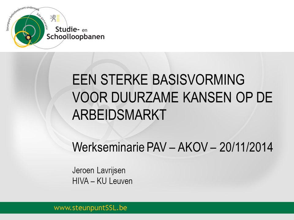 www.steunpuntSSL.be EEN STERKE BASISVORMING VOOR DUURZAME KANSEN OP DE ARBEIDSMARKT Werkseminarie PAV – AKOV – 20/11/2014 Jeroen Lavrijsen HIVA – KU Leuven