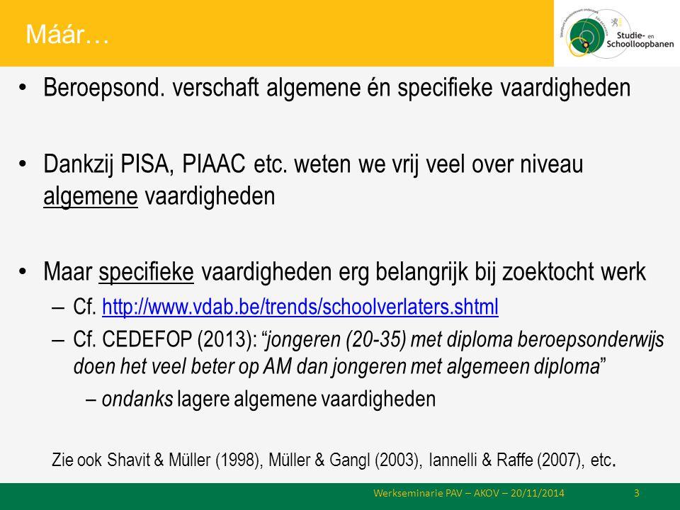 Máár… Beroepsond. verschaft algemene én specifieke vaardigheden Dankzij PISA, PIAAC etc.