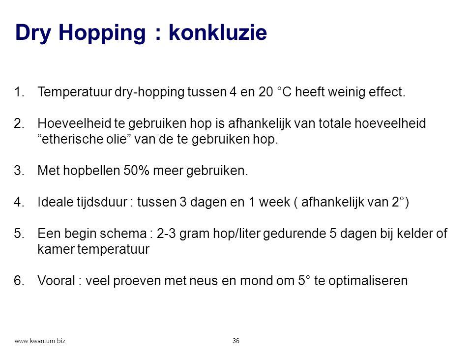 Dry Hopping : konkluzie www.kwantum.biz 36 1.Temperatuur dry-hopping tussen 4 en 20 °C heeft weinig effect. 2.Hoeveelheid te gebruiken hop is afhankel