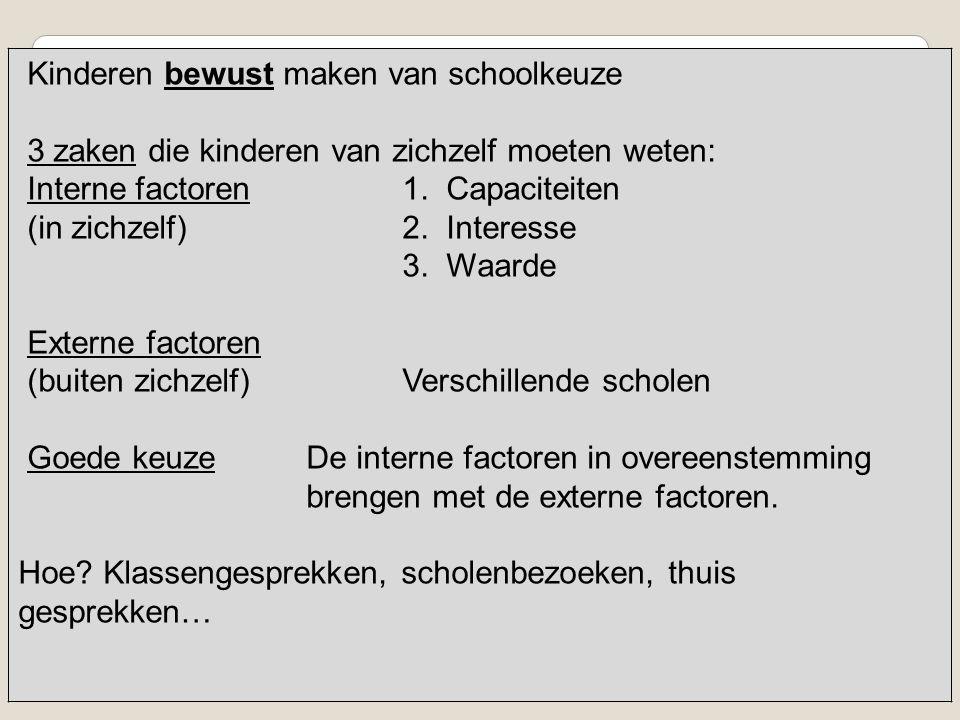 Kinderen bewust maken van schoolkeuze 3 zaken die kinderen van zichzelf moeten weten: Interne factoren1. Capaciteiten (in zichzelf)2. Interesse 3. Waa