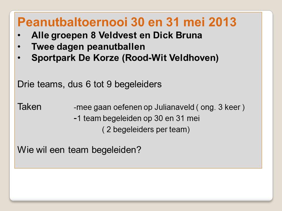 Peanutbaltoernooi 30 en 31 mei 2013 Alle groepen 8 Veldvest en Dick Bruna Twee dagen peanutballen Sportpark De Korze (Rood-Wit Veldhoven) Drie teams,