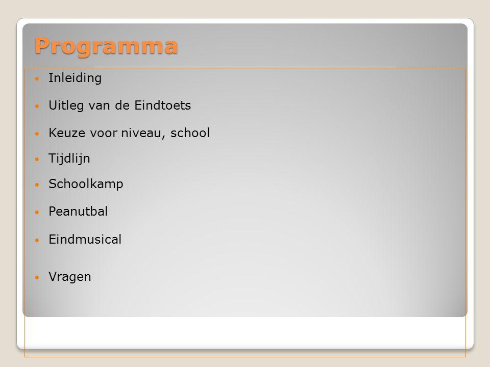 Programma Inleiding Uitleg van de Eindtoets Keuze voor niveau, school Tijdlijn Schoolkamp Peanutbal Eindmusical Vragen