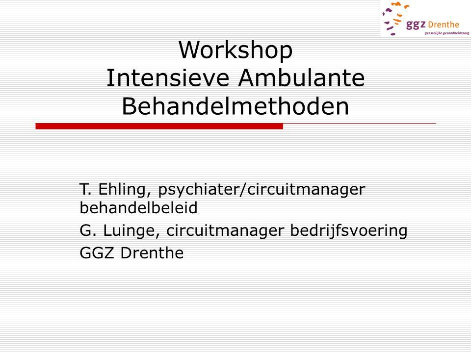 Workshop Intensieve Ambulante Behandelmethoden T. Ehling, psychiater/circuitmanager behandelbeleid G. Luinge, circuitmanager bedrijfsvoering GGZ Drent