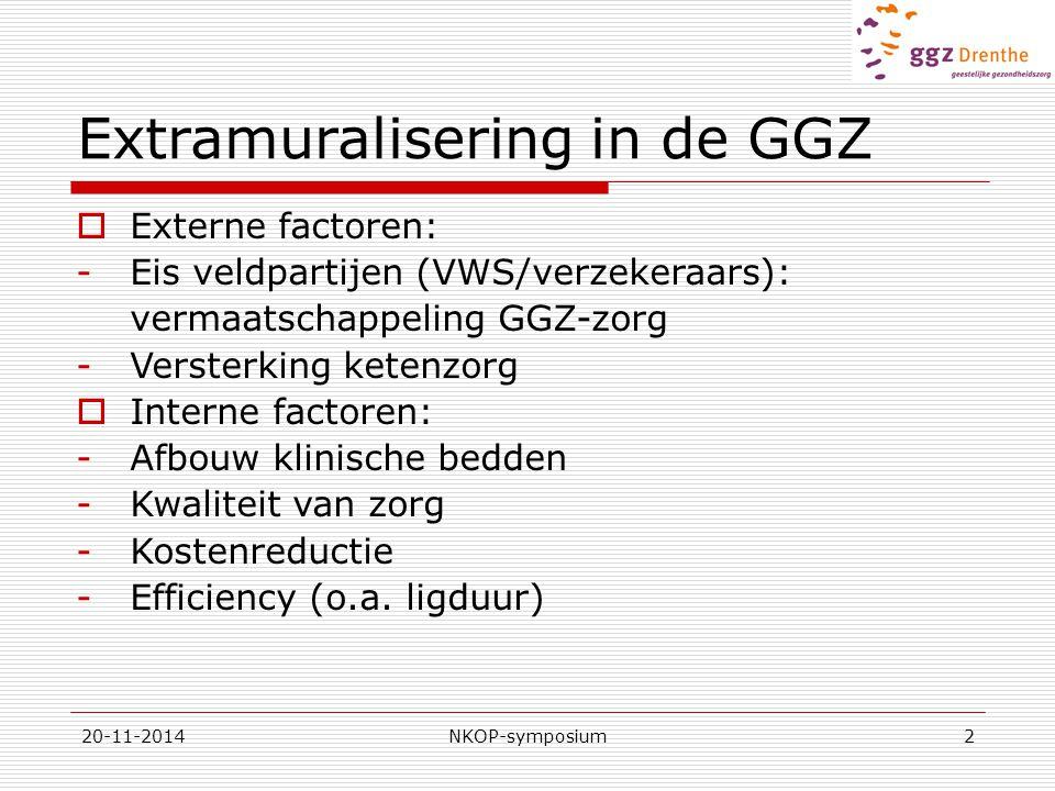 20-11-2014NKOP-symposium2 Extramuralisering in de GGZ  Externe factoren: -Eis veldpartijen (VWS/verzekeraars): vermaatschappeling GGZ-zorg -Versterking ketenzorg  Interne factoren: -Afbouw klinische bedden -Kwaliteit van zorg -Kostenreductie -Efficiency (o.a.