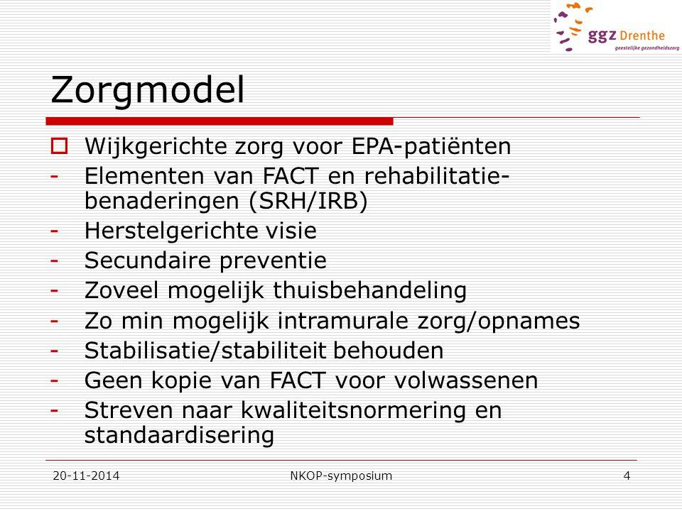 20-11-2014NKOP-symposium4 Zorgmodel  Wijkgerichte zorg voor EPA-patiënten -Elementen van FACT en rehabilitatie- benaderingen (SRH/IRB) -Herstelgerichte visie -Secundaire preventie -Zoveel mogelijk thuisbehandeling -Zo min mogelijk intramurale zorg/opnames -Stabilisatie/stabiliteit behouden -Geen kopie van FACT voor volwassenen -Streven naar kwaliteitsnormering en standaardisering