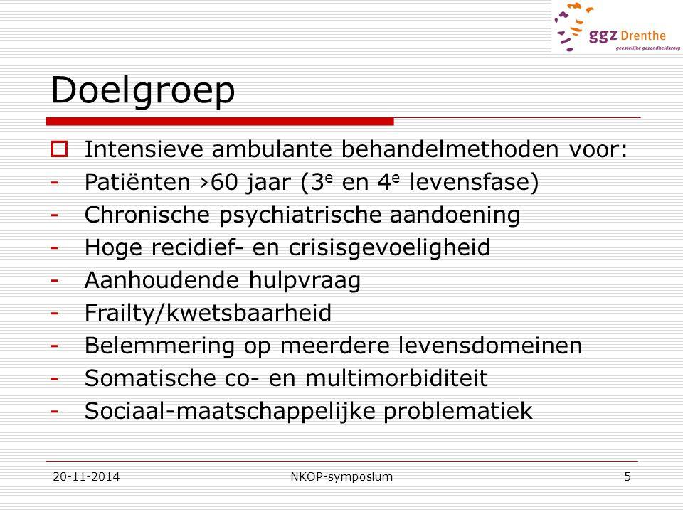 20-11-2014NKOP-symposium6 Aanbod  Multidisciplinaire benadering  Zorgpad Langdurige behandeling/stabilisatie  Stepped care module: opschalen op indicatie  Opschaling op 3 niveau's: -Planbaar: combinatie farmacotherapie/ steun/structuur (variabel in frequentie) -Flexibel beschikbaar: inzet meer disciplines, hogere frequentie, Telefoon op Recept (TOR) -24/7 Crisisinterventie: hoogfrequente zorg, Bed op Recept (BOR), kortdurende opname