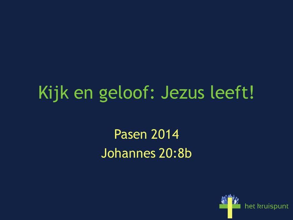 Kijk en geloof: Jezus leeft! Pasen 2014 Johannes 20:8b