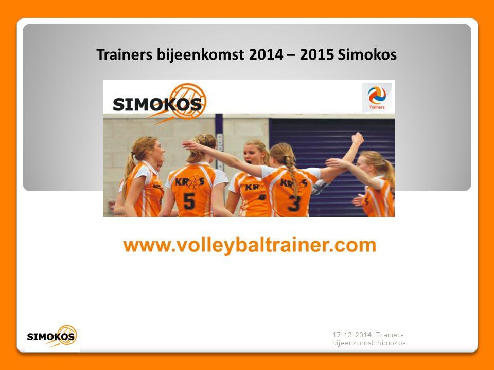 Bedankt voor de aanwezigheid! 17-12-2014 Trainers bijeenkomst Simokos