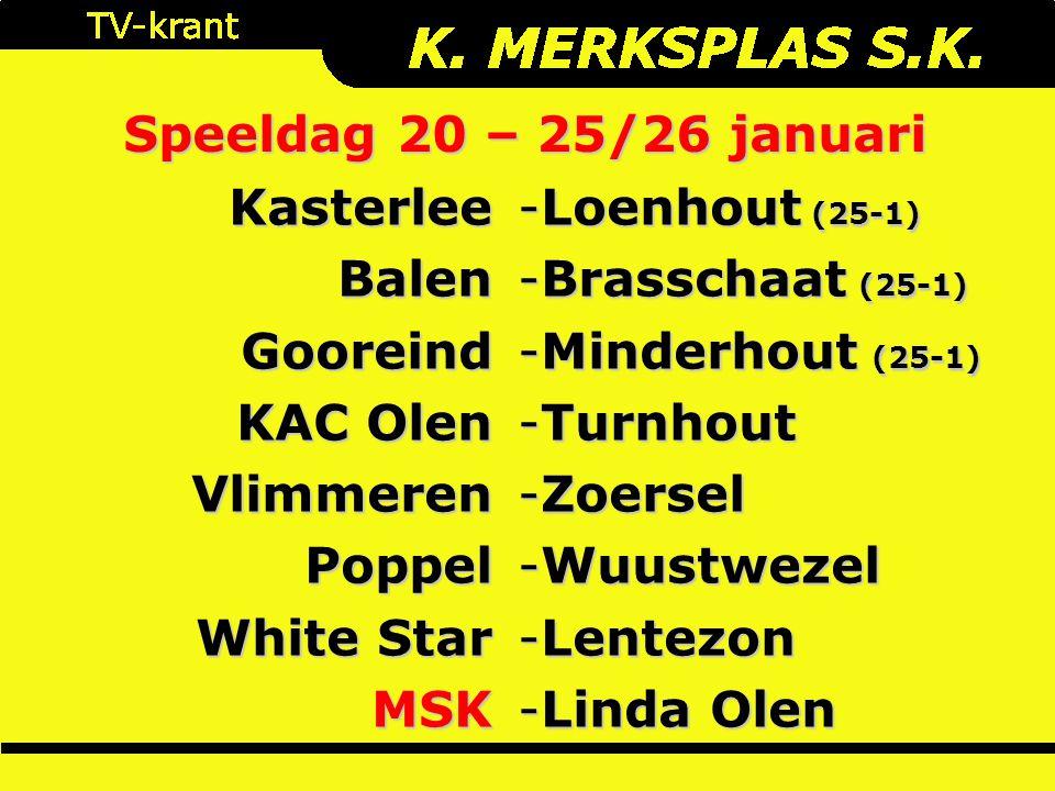 Speeldag 20 – 25/26 januari KasterleeBalenGooreind KAC Olen VlimmerenPoppel White Star MSK -Loenhout (25-1) -Brasschaat (25-1) -Minderhout (25-1) -Turnhout -Zoersel -Wuustwezel -Lentezon -Linda Olen