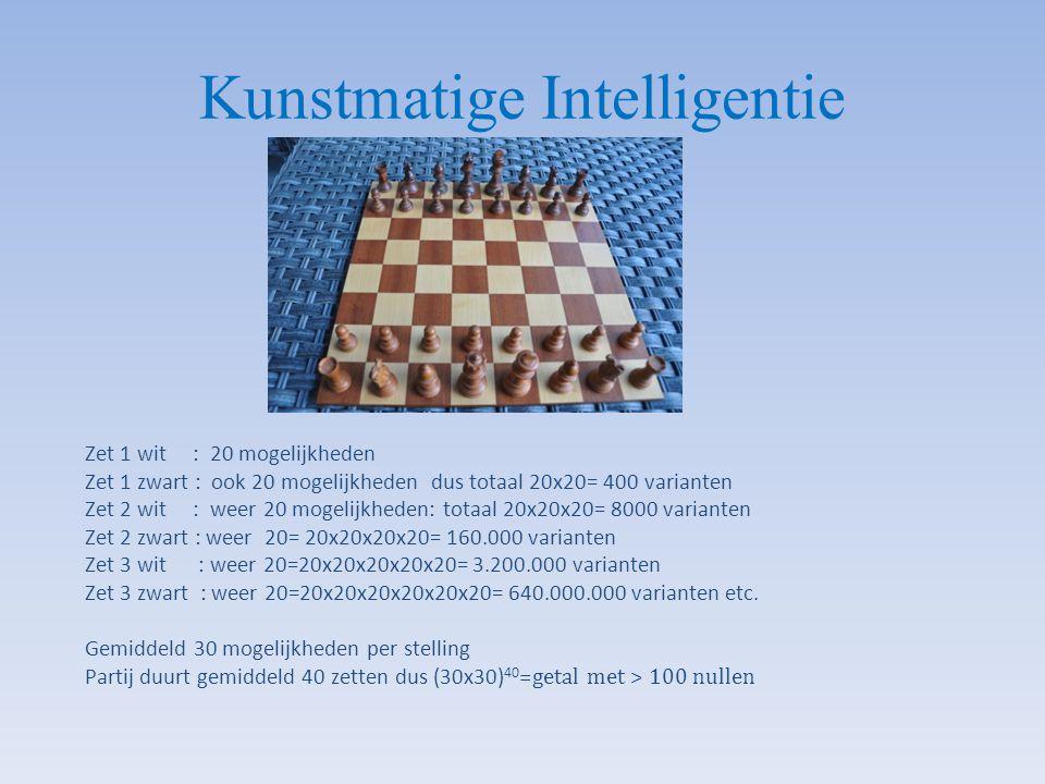 Zet 1 wit : 20 mogelijkheden Zet 1 zwart : ook 20 mogelijkheden dus totaal 20x20= 400 varianten Zet 2 wit : weer 20 mogelijkheden: totaal 20x20x20= 80