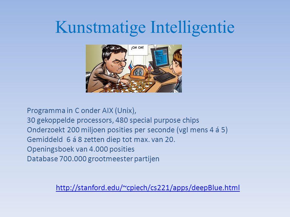 Kunstmatige Intelligentie Programma in C onder AIX (Unix), 30 gekoppelde processors, 480 special purpose chips Onderzoekt 200 miljoen posities per sec