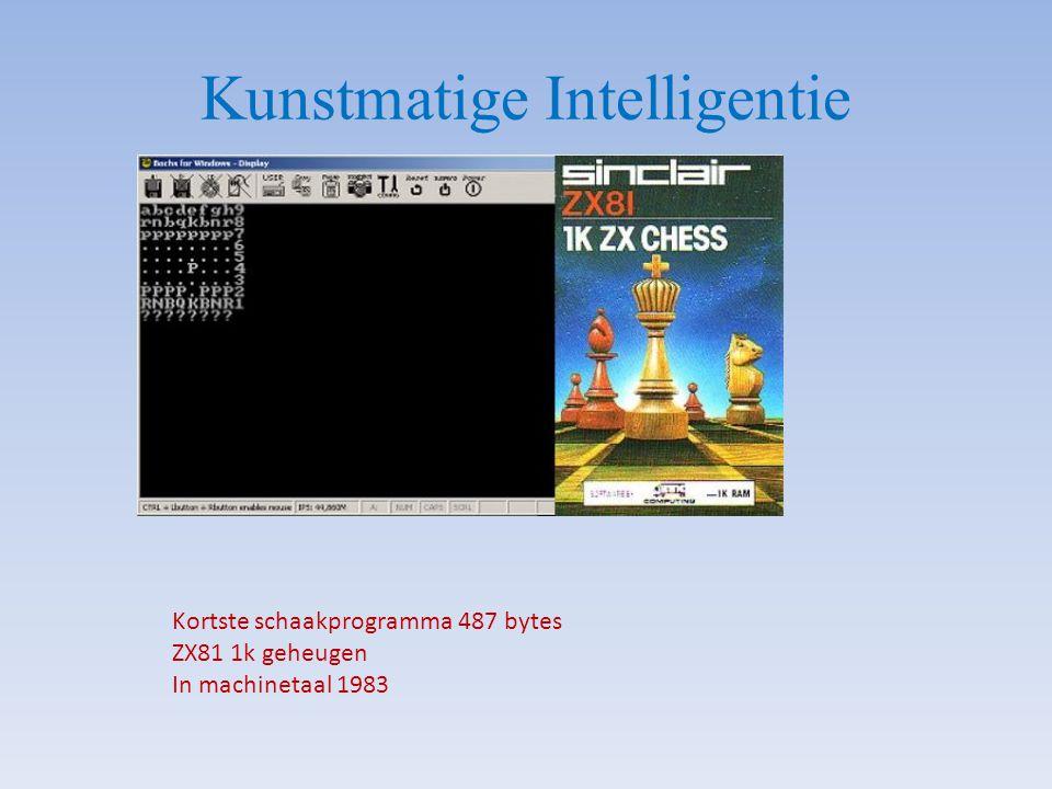 Kunstmatige Intelligentie Kortste schaakprogramma 487 bytes ZX81 1k geheugen In machinetaal 1983