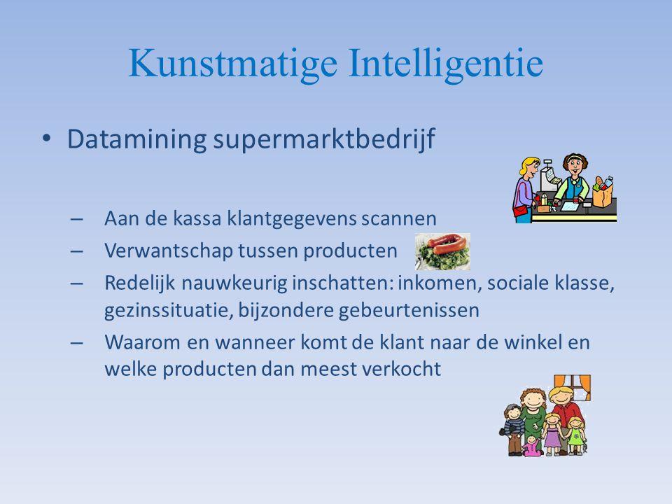 Kunstmatige Intelligentie Datamining supermarktbedrijf – Aan de kassa klantgegevens scannen – Verwantschap tussen producten – Redelijk nauwkeurig insc