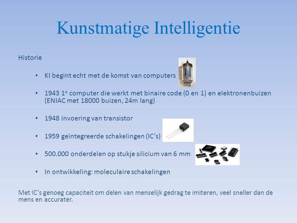 Historie KI begint echt met de komst van computers 1943 1 e computer die werkt met binaire code (0 en 1) en elektronenbuizen (ENIAC met 18000 buizen,
