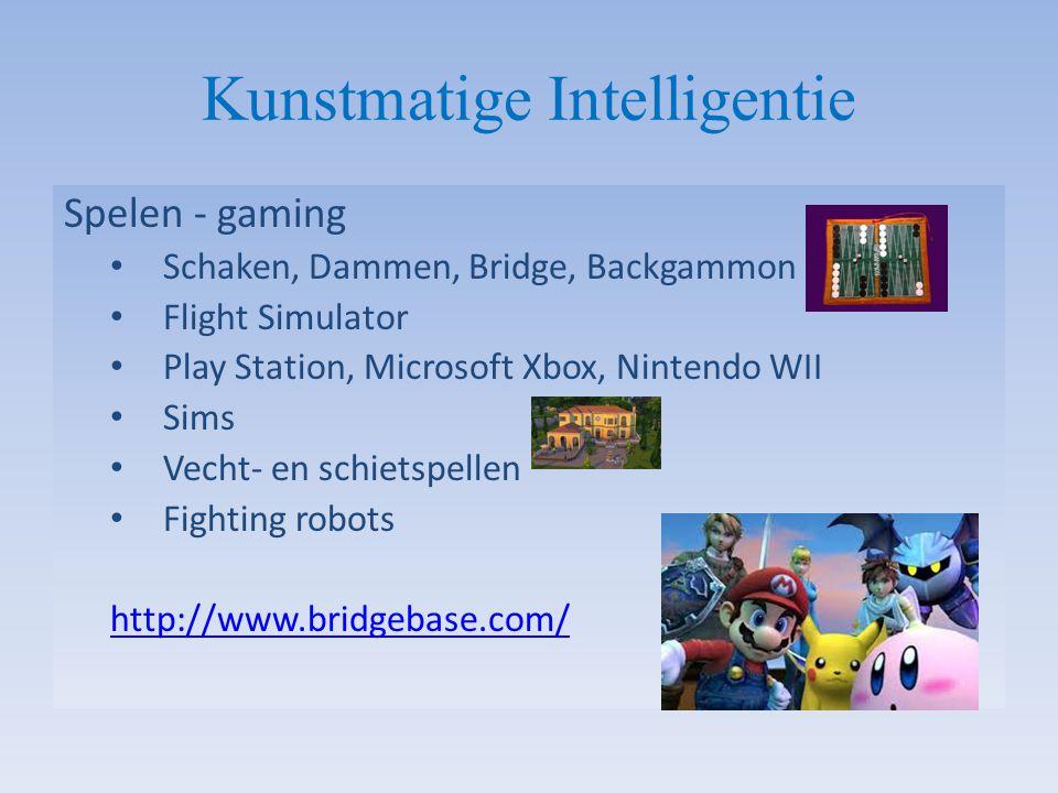 Kunstmatige Intelligentie Spelen - gaming Schaken, Dammen, Bridge, Backgammon Flight Simulator Play Station, Microsoft Xbox, Nintendo WII Sims Vecht-