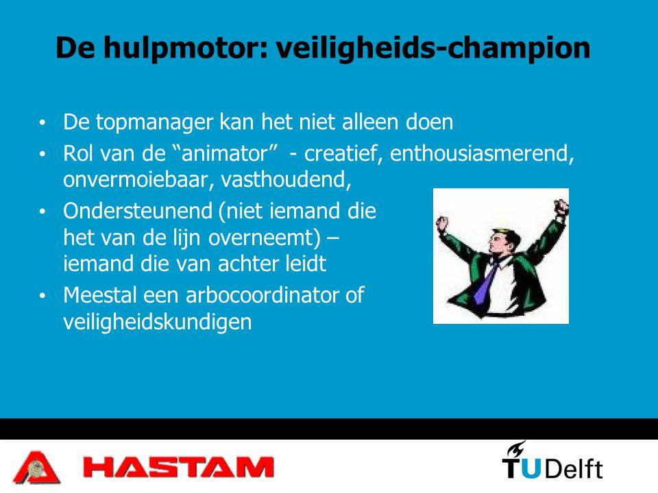 """De hulpmotor: veiligheids-champion De topmanager kan het niet alleen doen Rol van de """"animator"""" - creatief, enthousiasmerend, onvermoiebaar, vasthoude"""