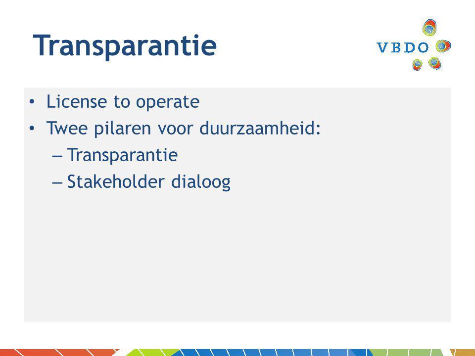 License to operate Twee pilaren voor duurzaamheid: – Transparantie – Stakeholder dialoog Transparantie