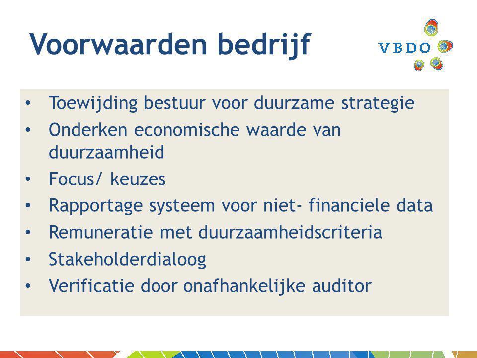Toewijding bestuur voor duurzame strategie Onderken economische waarde van duurzaamheid Focus/ keuzes Rapportage systeem voor niet- financiele data Remuneratie met duurzaamheidscriteria Stakeholderdialoog Verificatie door onafhankelijke auditor Voorwaarden bedrijf