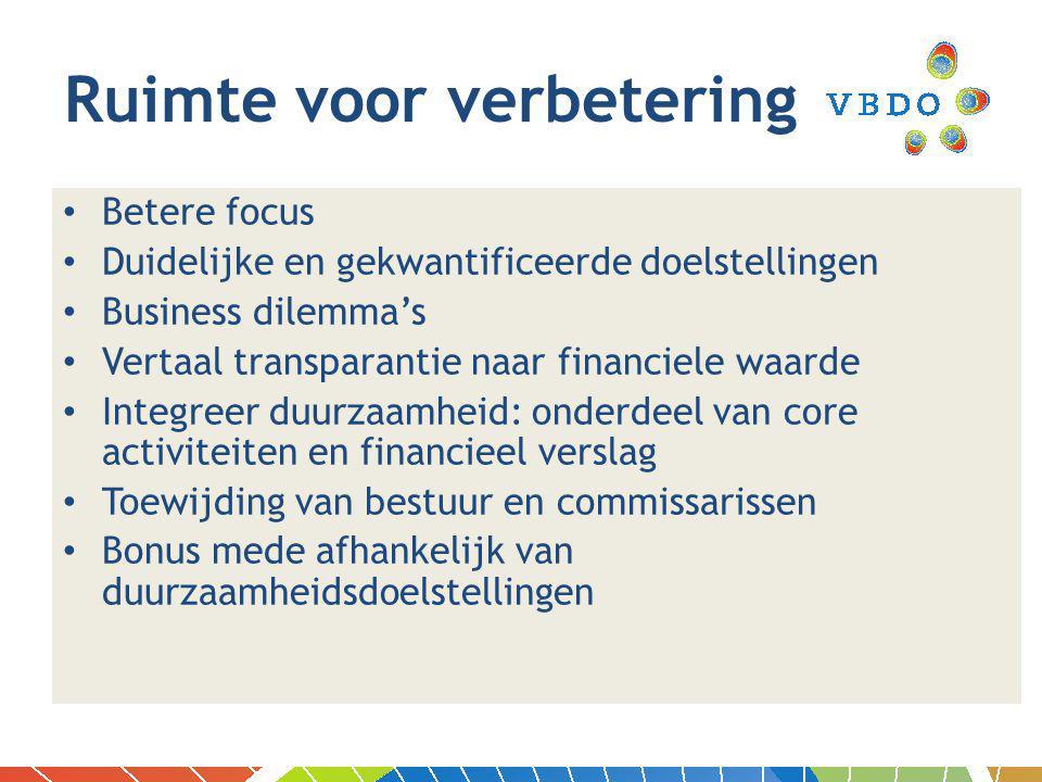 Betere focus Duidelijke en gekwantificeerde doelstellingen Business dilemma's Vertaal transparantie naar financiele waarde Integreer duurzaamheid: onderdeel van core activiteiten en financieel verslag Toewijding van bestuur en commissarissen Bonus mede afhankelijk van duurzaamheidsdoelstellingen Ruimte voor verbetering