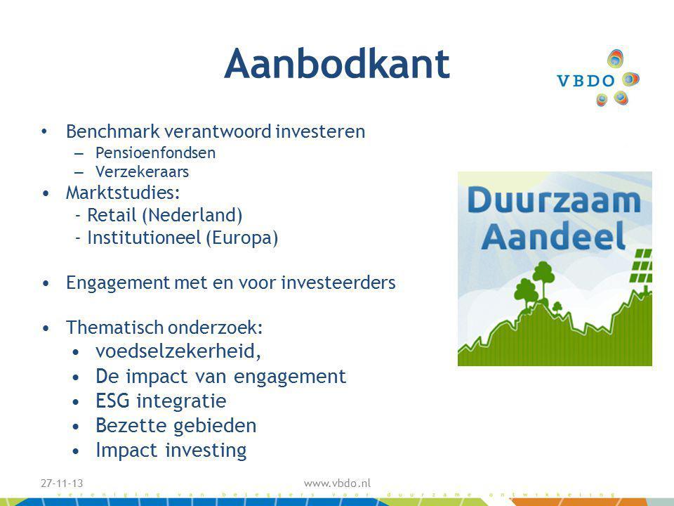 Aanbodkant Benchmark verantwoord investeren – Pensioenfondsen – Verzekeraars Marktstudies: - Retail (Nederland) - Institutioneel (Europa) Engagement met en voor investeerders Thematisch onderzoek: voedselzekerheid, De impact van engagement ESG integratie Bezette gebieden Impact investing 27-11-13www.vbdo.nl