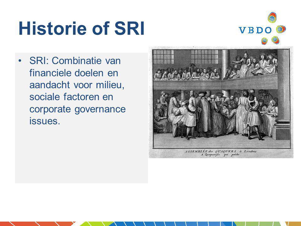 Historie van SRI 1960s: Vietnamoorlog, civil rights, vrouwen rechten 1980s: druk van investeerders op Zuid Afrika (apartheid), Dow Chemical, Exxon Valdez, etc.