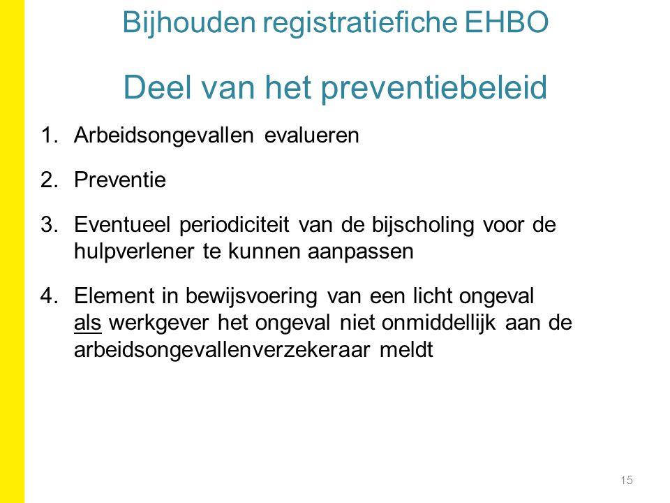 Bijhouden registratiefiche EHBO Deel van het preventiebeleid 1.