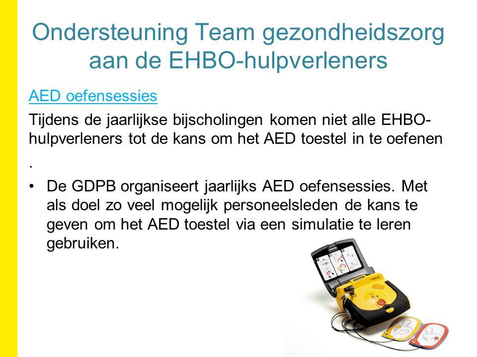 AED oefensessies Tijdens de jaarlijkse bijscholingen komen niet alle EHBO- hulpverleners tot de kans om het AED toestel in te oefenen.