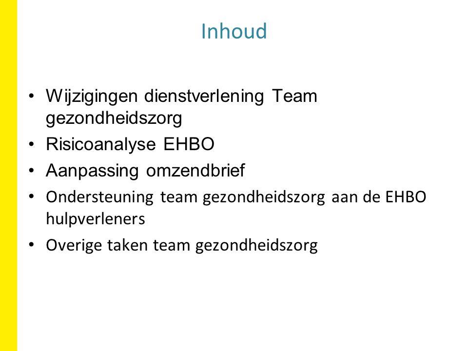 Risicoanalyse EHBO Aanpassing omzendbrief Ondersteuning team gezondheidszorg aan de EHBO hulpverleners Overige taken team gezondheidszorg Inhoud