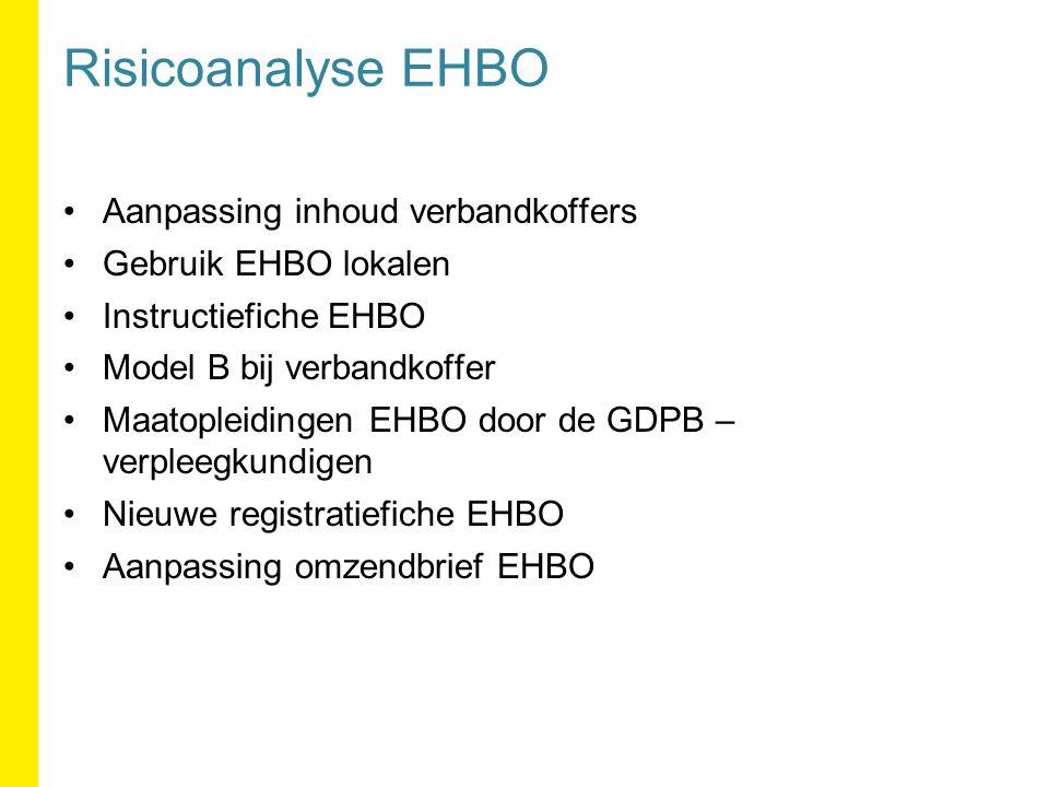 Aanpassing inhoud verbandkoffers Gebruik EHBO lokalen Instructiefiche EHBO Model B bij verbandkoffer Maatopleidingen EHBO door de GDPB – verpleegkundigen Nieuwe registratiefiche EHBO Aanpassing omzendbrief EHBO Risicoanalyse EHBO