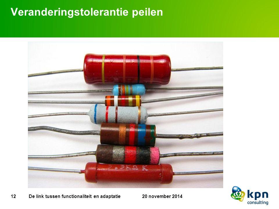 Veranderingstolerantie peilen 12 20 november 2014De link tussen functionaliteit en adaptatie