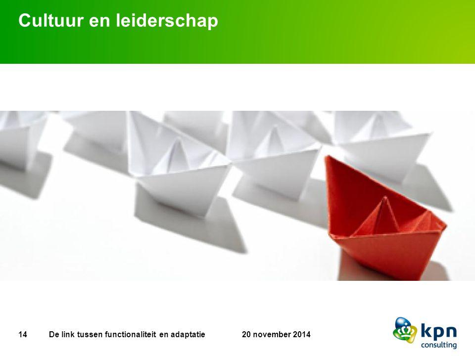 Cultuur en leiderschap 14 20 november 2014De link tussen functionaliteit en adaptatie