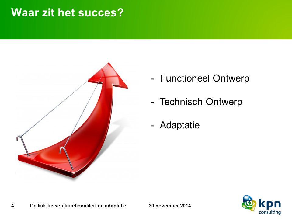 Waar zit het succes? 4 20 november 2014De link tussen functionaliteit en adaptatie -Functioneel Ontwerp -Technisch Ontwerp -Adaptatie