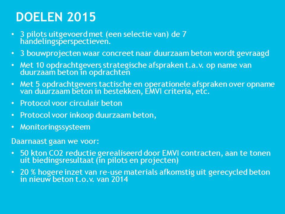 DOELEN 2015 3 pilots uitgevoerd met (een selectie van) de 7 handelingsperspectieven.