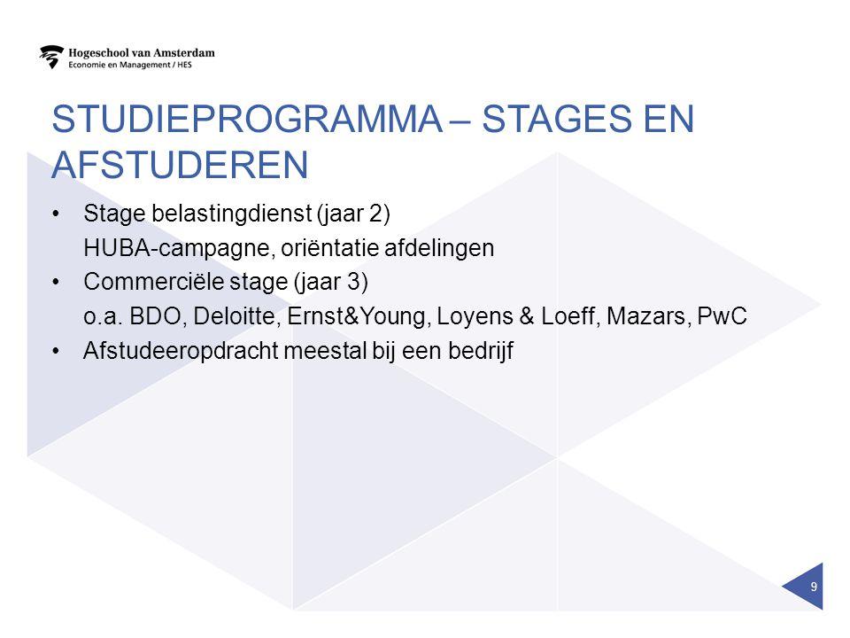 STUDIEPROGRAMMA – STAGES EN AFSTUDEREN Stage belastingdienst (jaar 2) HUBA-campagne, oriëntatie afdelingen Commerciële stage (jaar 3) o.a. BDO, Deloit