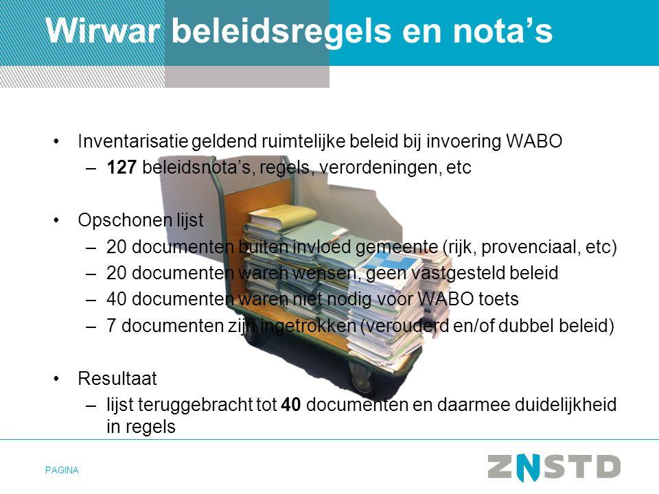 PAGINA Wirwar beleidsregels en nota's Inventarisatie geldend ruimtelijke beleid bij invoering WABO –127 beleidsnota's, regels, verordeningen, etc Opsc