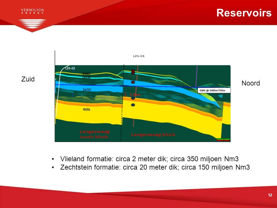 Reservoirs 12 Zuid Noord Vlieland formatie: circa 2 meter dik; circa 350 miljoen Nm3 Zechtstein formatie: circa 20 meter dik; circa 150 miljoen Nm3