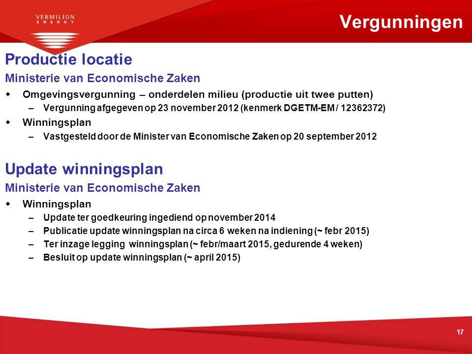 17 Vergunningen Productie locatie Ministerie van Economische Zaken  Omgevingsvergunning – onderdelen milieu (productie uit twee putten) –Vergunning a
